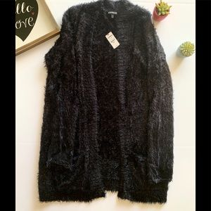 EXPRESS Black w/ gold sequence feather cardigan